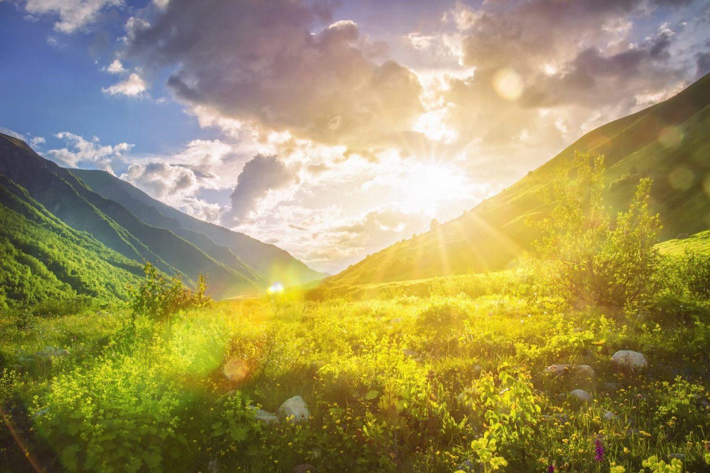 Sunny Mountains Landscape. Mountain Range And Yellow Sunlight On